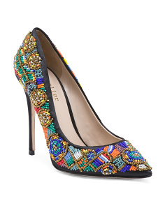 Beaded Satin Pumps