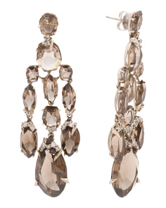 Sterling Silver Smoky Quartz And Diamond Chandelier Earrings