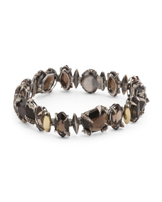Made In Thailand Sterling Silver Smoky Quartz And Diamond Bracelet