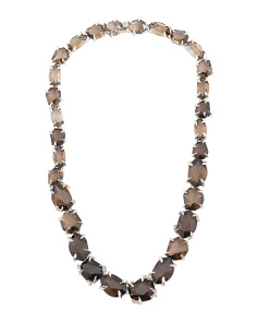 Sterling Silver Smoky Quartz And Diamonds Necklace