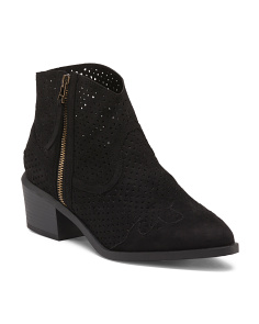 Perforated Low Western Booties
