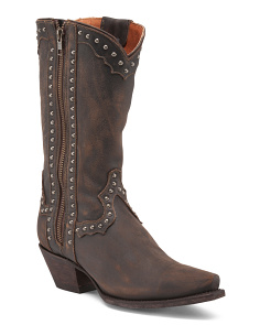 Western Studded Leather Boots