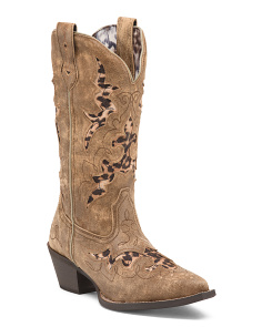 Western Leopard Inlay Leather Boots