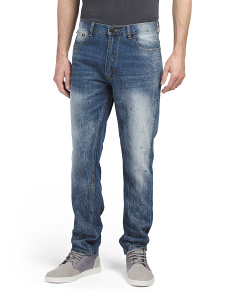 Paint Splatter Slim Denim Jeans