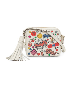 Made In Italy All Over Sticker Cubed Leather Crossbody