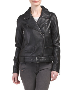 Belted Moto Leather Jacket