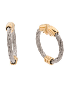 Stainless Steel And Sterling Silver Vermeil Hoop Earrings