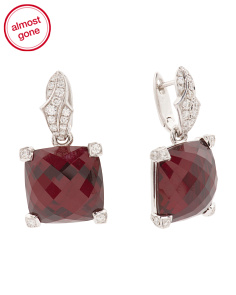 18k White Gold Diamond Garnet And Quartz Drop Earrings