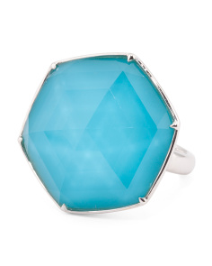 18k White Gold Turquoise Doublet Ring
