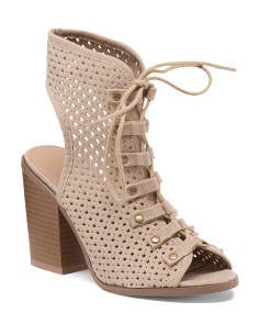 Perforated Lace Up Booties