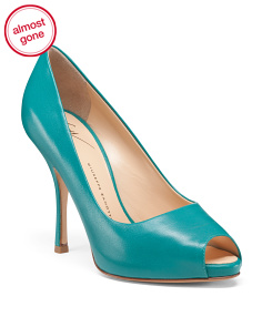 Made In Italy Peep Toe Leather Pumps