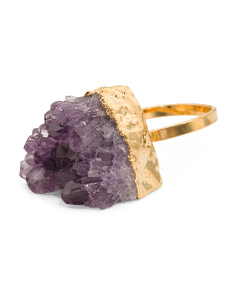 Made In USA Genuine Druzy Adjustable Gold Plated Ring