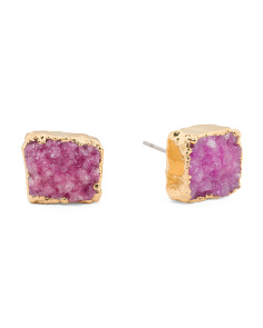 Made In USA Genuine Druzy Square Stud Earrings