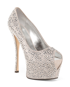 Made In Italy Sparkle Suede Platform Pumps