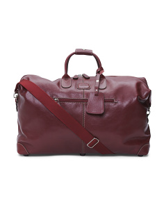 Made In Italy Life Pelle Cargo Carry-On Leather Duffle Bag