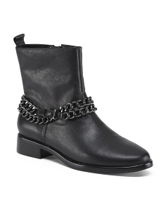 Leather Booties With Chain Detail