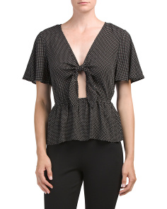 Juniors Polka Dot Tie Front Top