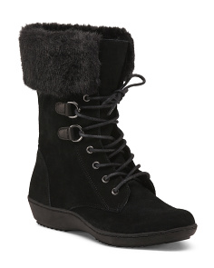 Lace Up Mid Shaft Suede Boots