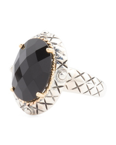 Made In Thailand Sterling Silver And 14k Gold Onyx Ring