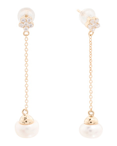 Made In Thailand 14k Gold Pearl And Cubic Zirconia Linear Earrings
