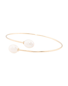Made In Thailand 14k Gold Pearl Bypass Bracelet