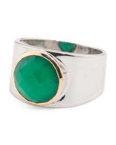 Made In Thailand Sterling Silver And 14k Gold Green Onyx Ring