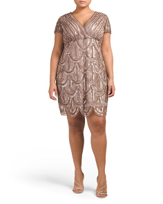 Plus V Neck Dress With Sequins Over Mesh