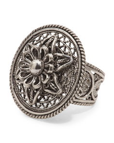 Made In Turkey Sterling Silver Layered Flower Ring