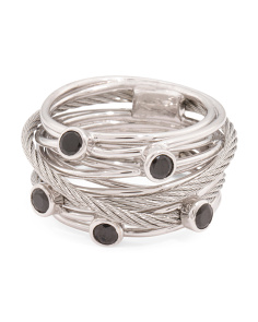 Swiss Designed Tango Black Spinel Multi Row Cable Ring
