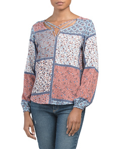 Juniors Mixed Print Top
