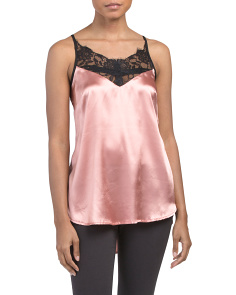Juniors Lace Satin Tank