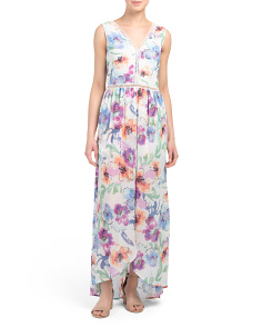 Juniors Watercolor Print Floral Maxi Romper