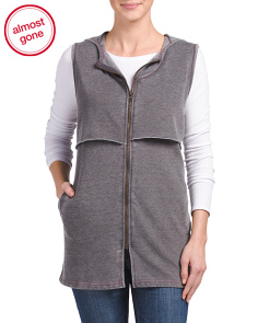 Hooded French Terry Zip Up Vest