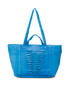 Rib Front Leather Tote