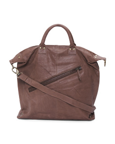 Leather Zip Satchel