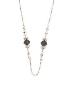 Made In Thailand Sterling Silver Gemstone Station Necklace