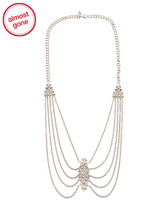 Sterling Silver Diamond Stud Bib Necklace