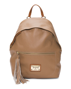 Made In Italy Rounded Top Leather Backpack