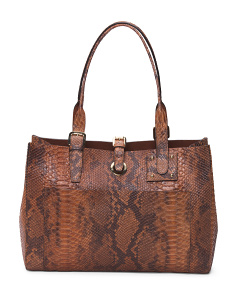 Made In Italy Large Python Leather Tote
