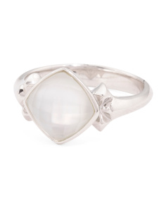 Sterling Silver Superstud Mother Of Pearl Doublet Ring