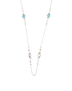Sterling Silver Gemstone Station Necklace