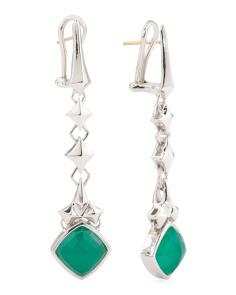 Sterling Silver Superstud Chrysoprase Doublet Drop Earrings