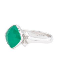 Sterling Silver Superstud Chrysoprase Doublet Ring