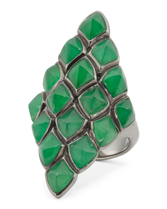 Sterling Silver Superstud Jade Kite Ring