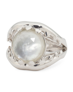 Sterling Silver Jewels Verne Mother Of Pearl Doublet Jaw Ring