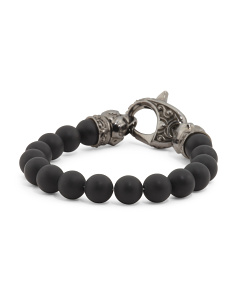Sterling Silver And Onyx Ravens Head Bracelet