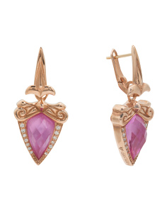 Sterling Silver Pink Sapphire Doublet Earrings