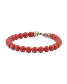 Sterling Silver Red Coral Beaded Bracelet