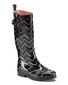 Chevron Printed Tall Rain Boots