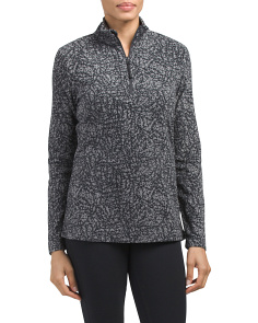 Vine Print Quarter Zip Fleece Jacket